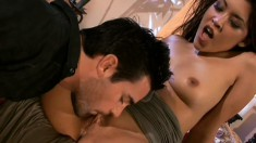 Some dripping Asian snatch gets eaten out in an erotic scene