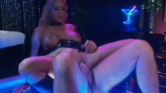 Busty blonde stripper with a perfect ass Trina Michaels passionately rides a hard dick