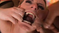 Slutty babe gets fucked hard by three guys and takes their juices in her mouth