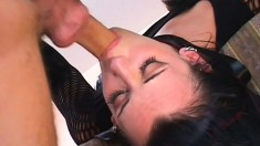 Wild brunette in black leather boots gets her tight anal hole fucked deep and rough