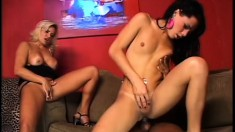 Busty blonde lady touches herself while a hot shemale gets fucked hard