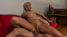Comely blonde with slender fanny tries out tender anal banging