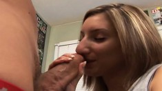 Blonde college babe works her lips up and down a big dick before getting fucked hard
