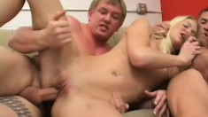 Cute amateur blond gets two facials after getting double penetrated