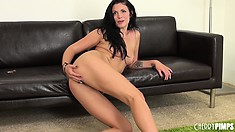The attractive lady has her fingers and the dildo roaming around her wet cunt