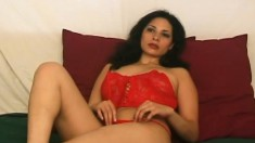 Sensuous brunette in red lingerie Lorena reveals her marvelous curves