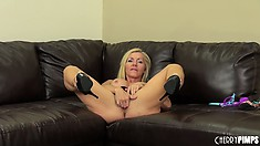 Lisa DeMarco likes licking her dildo to warm it up before masturbation
