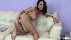 Dillion Harper switches her fingers for a vibrator during a show