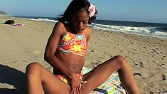 Black Cutie With Tiny Tits Little Coco Fingers Her Pussy At The Beach
