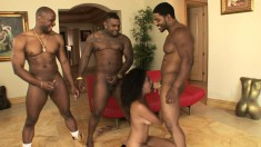 Desiree Diamond has four black stallions filling her mouth with semen