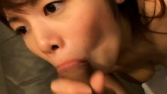 Stacked Japanese girl makes a dick burst with pleasure with her lips