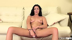 Andy San Dimas kicks back and fucks her pretty pink cunt on camera