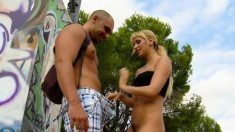 Aleska nibbles on his dick outdoors and gets her hot ass slammed