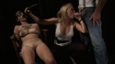 Mistress takes out her slave for a little private party with the master