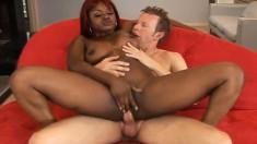 Ebony slut Nyeema goes white and takes it in her slit and asshole