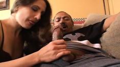 Lustful brunette secretary has a dark stallion satisfying her desires