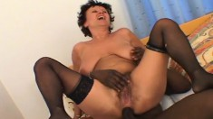 Big saggy tit mature brunette gets drilled by a big black pecker