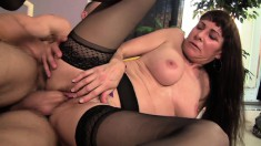 Slutty milf in black lingerie Alexandra feeds her lust for young meat