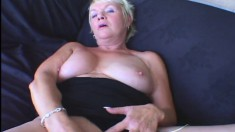 Stacked blonde milf has fun with a sex toy and then enjoys a hard cock
