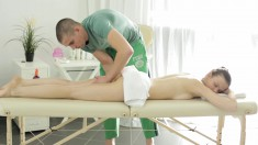 She gets so horny from the massage she sucks his dick and screws him