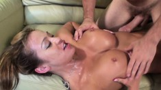 Big breasted beauty Mia Lelani shows off her wonderful oral abilities