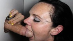 Brunette Slut With Tiny Boobs Reveals Her Oral Skills At The Gloryhole