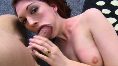 Enticing redhead fingers her shaved pussy and gives a special blowjob