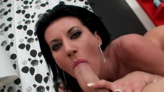 Sexy brunette wakes him up for some head and hardcore cunt banging