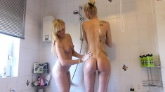 Skinny Small Titted Blonde In Shower