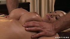 Take a close look at her naked flesh as she is massaged and oiled