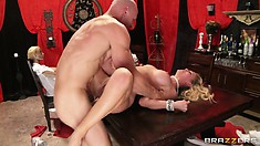 Blonde MILF gets a rough fucking and a big facial in her kitchen