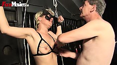 Slave gets tied up and tortured with hot candle wax and nipple tweaking