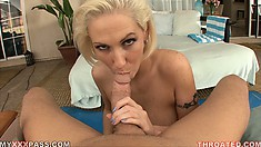 Busty blonde slut with short-hair sucks on a massive hard cock