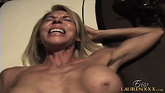 The wild mature lady sighs with pleasure as he drives his cock deep in her pussy