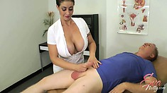 Naughty nurse Eva Notty tries to help him with his iron hard cock