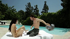 Poolside loving with some hot foreplay and a nice, sexy blowjob