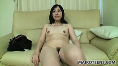 Japanese MILF takes her clothes off to show off her slutty body