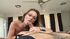 Petite whore with pink glasses goes nude to fuck a hung dude