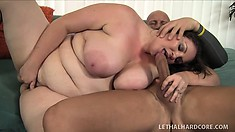 BBW brunette, Joslyn Underwood gets jiggy on his joint with her plump pussy