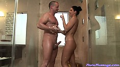 Marvelous brunette provides the troubled neighbor a great massage