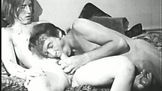 Retro homo action in B&W with a pair of peckers ready to explode