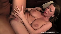Frisky brunette tart rides her lover's hot and hard fuck stick