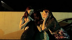 Three lesbian babes get together to provide to each other overwhelming pleasure