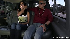 Brunette Latina goes for a ride and he wants to be able to ride her