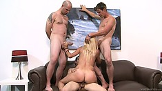 Son's friends want to gangbang his mom and she blows and rides