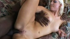 Pretty young blonde Sarah Jordan takes a big black one up the ass