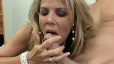 Very hot blonde Milf gobbles his cock and lets this lucky dude bang her