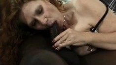 Chubby redhead takes it to the base from a massive black dude