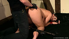 She gets on her knees to suck him and gets drilled doggy style