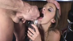 The office whore impales her filthy snatch on a throbbing cock